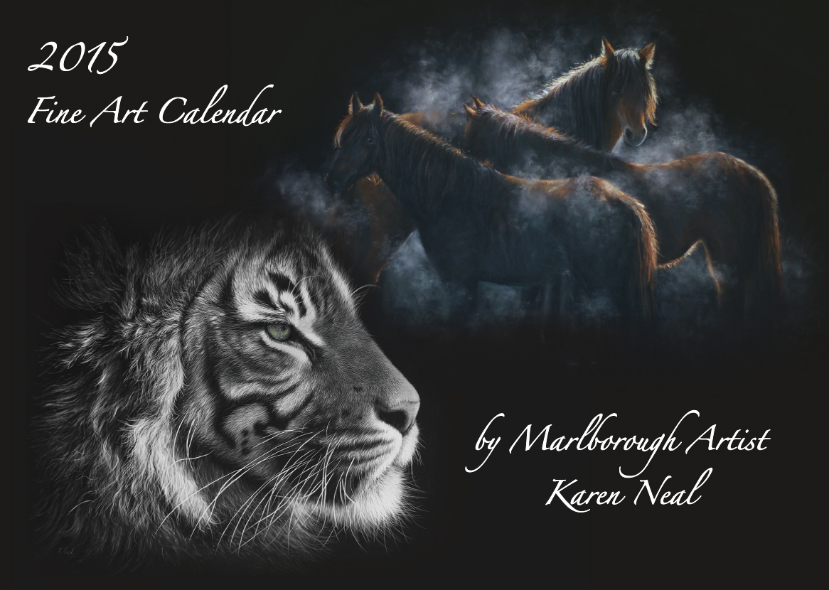 2015 fine art calendar by New Zealand wildlife artist Karen Neal