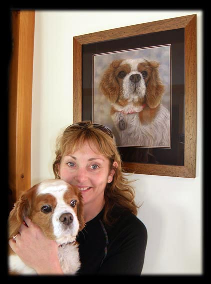 Pet dog painting portrait commission of Ruby, a Cavalier King Charles by artist Karen Neal